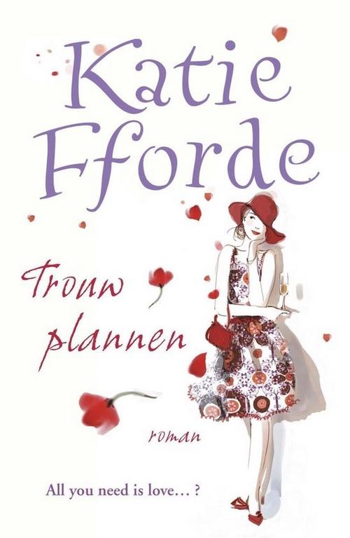 kaft wit getekend vrouw rode hoed klaprozen Katie Fforde Trouwplannen