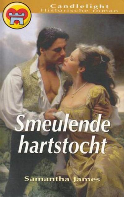 vrouw in goudkleurige jurk op rotsen met man goudkleurig gillet Samantha James Smeulende hartstocht Candlelight hr. 894